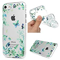 iPhone 7 Case, iPhone 8 Case MAXFE.CO Soft TPU Gel Cover Flexible Case Transparent Clear Shock-Absorption Protective Rubber Shell Ultra-Thin Silicone Case for iPhone 7/ 8 - Green Butterfly