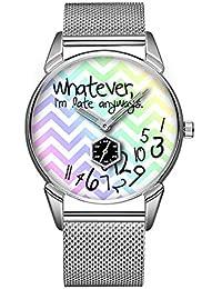 Mode Impermeable Reloj Minimalista Personalidad patrón Reloj de 948. lo Llega Tarde, ich Bin