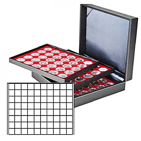 Lindner 2365-2180E Coin case NERA XL with 3 trays and light red coin inserts with 240 rectangular compartments for coins/coin capsules up to Ø 24 mm
