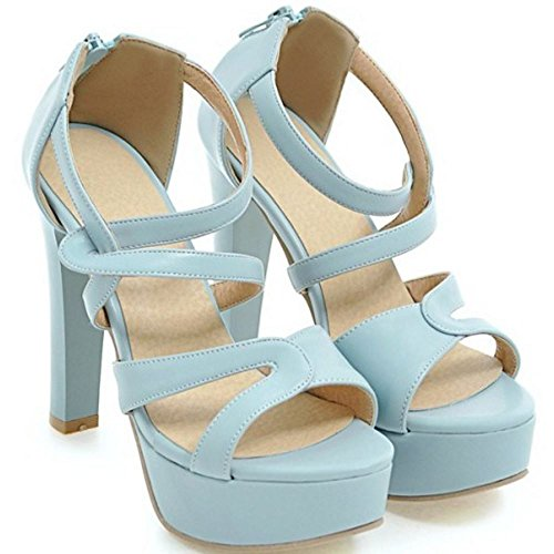 Sandali Platform Matrimonio Aperto Elegante Taoffen Blu 955 Donna Soiree Perizoma Fine Tacco FFg08