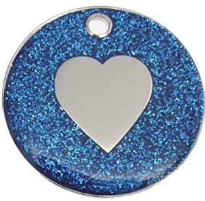 Just Pets Quality Enamel Blue Glitter Dog Tag, Heart Design, Personalised, Engraved Free