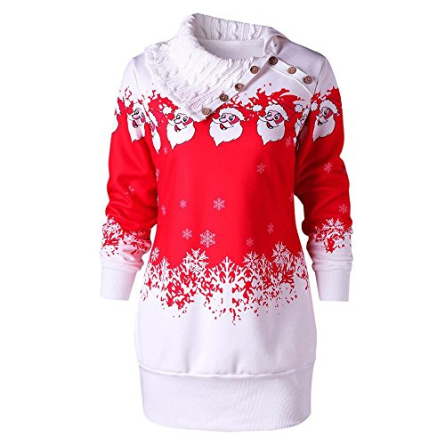 VEMOW Heißer Einzigartiges Design Mode Damen Frauen Frohe Weihnachten Schneeflocke Gedruckt Tops Cowl Neck Casual Sweatshirt Bluse(Y3-Rot, EU-42/CN-2XL) -