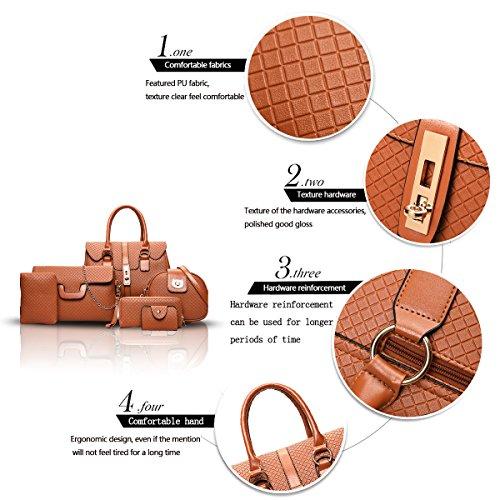 Sunas 2017 nuove borse della signora retro 6 insiemi delle borse trasversali borse superiori del sacchetto di spalla Marrone
