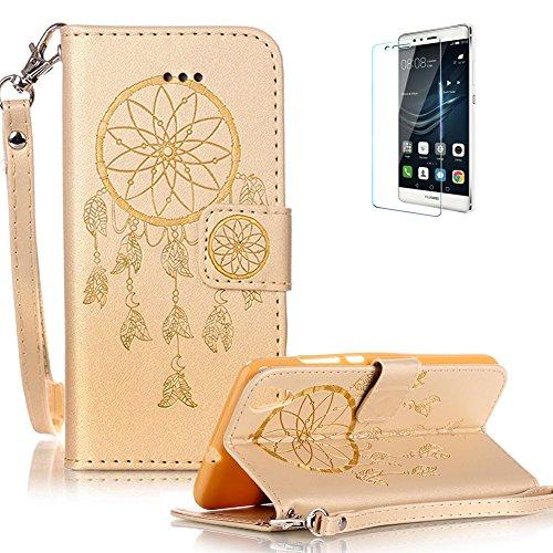 Preisvergleich Produktbild Für Huawei Y6 II/Huawei Honor 5A Strap Lanyard Leder Brieftasche Hülle Case Flip Cover,Funyye [Traumfänger Muster Geschnitzt] Solide Farbe Magnetic PU Ledertasche Hüllen Flip Cover Telefon-Kasten Handyhülle Bookstyle Wallet Brieftasche Card Slot Handycase für Huawei Y6 II/Huawei Honor 5A,Wallet Case Flip Cover Hüllen Schutzhülle Etui Ledertasche Lederhülle mit Standfunktion Kartenfächer für Huawei Y6 II/Huawei Honor 5A + 1 x Frei Displayschutzfolie - Traumfänger,Gold