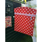 "RED Handmade Very large peg bag 15"" x 18"" RED POLKA DOT design in oil cloth"