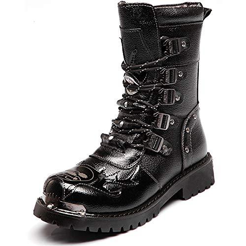 Mens Martin Boot Handmade British Fashion Echtes Leder wasserdichte Hohe Stiefel Metall Zubehör Steampunk Schuhe Vier Jahreszeiten Cowboystiefel,46 - Western-stiefel-zubehör