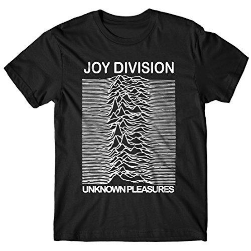 T-shirt Uomo - Joy Division maglietta con stampa rock 100% cotonee LaMAGLIERIA,L,Nero