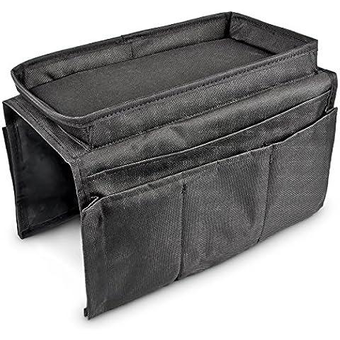 Relaxdays 6bolsillos sofá silla sofá apoyabrazos organizador bandeja, negro