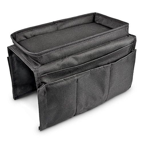Relaxdays Armlehnen Organizer, Sofa Butler mit integriertem Tablett, 6 Taschen, faltbar, Polyester, H x B x T: ca. 22 x 18 x 31 cm, schwarz