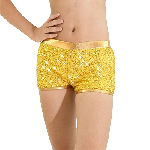 MiDee Voller Pailletten Pole Dance Shorts Tragen Kostüm Jazz, Hip - Hop Biketard (LC, Gold)