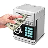 Umiwe Electrónica Huchas, Electrónica Dinero Bancos, Mini ATM Ahorro de Bancos, Cajas de Ahorro de la Moneda, Juguetes de los Regalos para Niños (Plata)