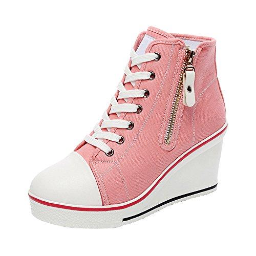 Femme Baskets Mode en Toile Talon Compensé Chaussures de Sport Platform #6 Rose