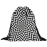 Fami Unisexe Retro géométrique Impression Drawstring Backpack,sac Drawstring (Multicolore 4)