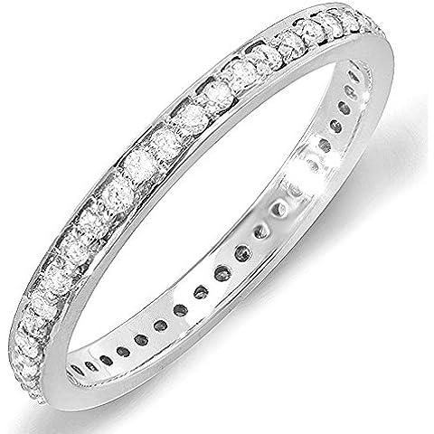 0,48quilates (quilates) 14K oro blanco Diamante redonda Aniversario de boda Eternidad Banda Anillo Apilable
