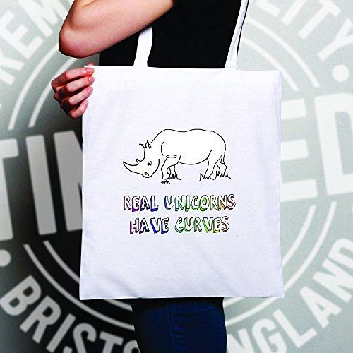 Reale Unicorns hanno le curve Rhino disegno stampato divertente Mitico Sacchetto Di Tote White