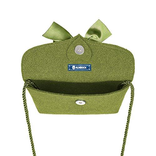 ALMBOCK Trachten-Tasche für Damen - versch. Trachten-Ledertaschen | Herztasche, Spatzl-Tasche, Lederhosen-Tasche, Hirsch-Tasche, Filz-Tasche, Kuhfell-Tasche Moosgrün | Modell Lilly Handmade