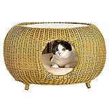 Tscenror PE Pet House Cat Nido Four Seasons Universale Tabella Cat Nest Closed Rattan Cat Nest Shelter Pet for i Cuccioli Casa per Animali in Legno (Colore : Beige, Dimensione : 61x36cm)