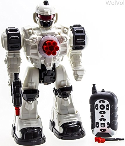 WolVol Remote Control Robot Police Toy with Flashing Lights and Sounds, Great Action Toy for Boys