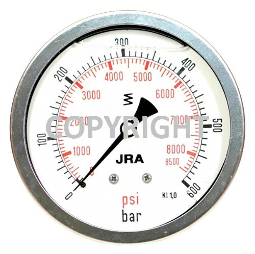 600 Psi Manometer (JRA-Longlife-Glyzerin-Manometer 0-600 bar/psi NG100 Schalttafeleinbau Anschluss hinten, exzentrisch, mit Klemmbügel G1/2