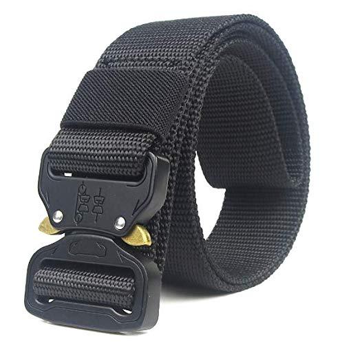 HOTSO Nylon Cinturón Táctico, Pretina Militar al Aire Libre 130cm Longitud Lona Transpirable Ceñidor para Hombre y Mujer Cintura con Hebillas de Metal (Negro)