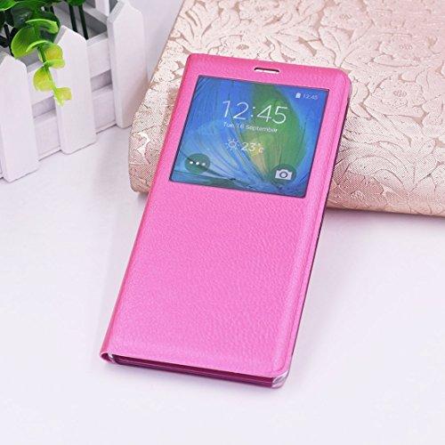 Schützen Sie Ihr Mobiltelefon Für Samsung Galaxy Note 8 PU + PC horizontaler Schlag-Leder-Kasten mit Anruf-Anzeigen-Identifikation für Samsung Handy ( Farbe : Magenta )