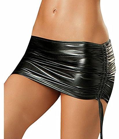 Awake Wet Look plissés en cuir PU jupe latérale réglable Femmes