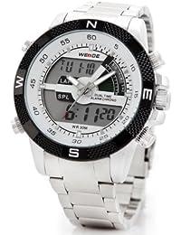 Alienwork Lumi Reloj Digital- Analógico Cronógrafo LED Multi-función Acero inoxidable blanco plata OS.WH-1104-1