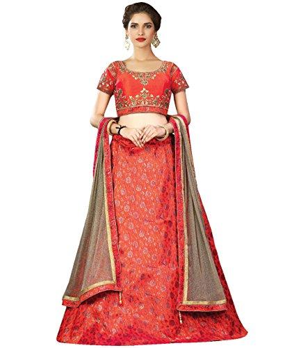 Indian Ethnicwear Bollywood Pakistani Wedding Dark Peach Flare Lehenga Semi-stitched