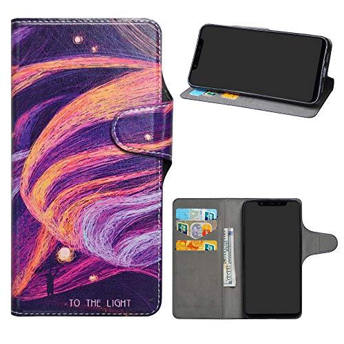 HHDY Xiaomi Mi 8 Funda, Diseño PU Cuero Libro Soporte Plegable y Ranuras para Tarjetas Dibujos Caso Cover para Xiaomi Mi 8,Brilliant Purple