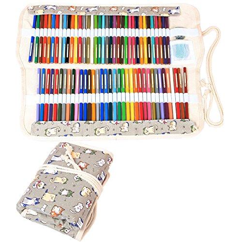 Damero Wrap Tele per 100 matite colorate, cassa del supporto di matita rotolo multiuso Pouch per Ufficio Scolastico, Arte, Artigianato, sacchetto della matita per la corsa, (matite non incluso) Cartoon Cats