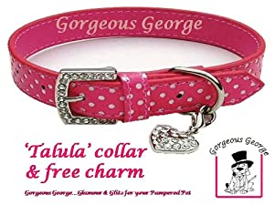 """Pink and white spotty dog collar with FREE diamante heart charm size 18""""-22"""""""