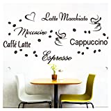 Wandora Wandtattoo Kaffee-Sorten I dunkelgrau I Herz Kaffeetasse Kaffeebohnen Küche Esszimmer Sticker Aufkleber Wandaufkleber Wandsticker G006