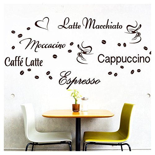 Wandora Wandtattoo Kaffee-Sorten I Taupe I Herz Kaffeetasse Kaffeebohnen Küche Esszimmer Sticker Aufkleber Wandaufkleber Wandsticker G006 - Espresso-akzent
