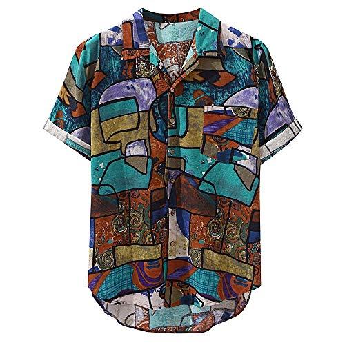 Hawaiihemd Herren Funky Hemd 3D Kreativ Muster Shirt Strand Knopf Hemden Kurzarm Freizeithemd Sommer Hawaii-Print Tops Front-Tasche Bluse Surf Muskelshirt Männer Klassisches Sweatshirt -