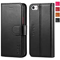 iPhone 5S Case, iPhone 5S Wallet Case, TUCCH [Lifetime Warranty] Magnetized Closure Card Slots Money Pouch, Retro Leather Wallet Case Purse Protective Cover Stand Feature Flip Book Case for iPhone 5s / 5 / SE - Black / Red