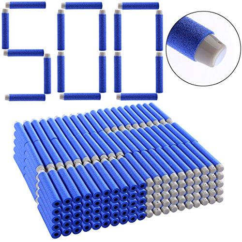 Mecotech 500Pcs Recharge Dardos Dardos Balas Azules Cabeza Blando para Nerf N-Strike Elite Series, 7.2*1.3cm - Juegos al Aire Libre