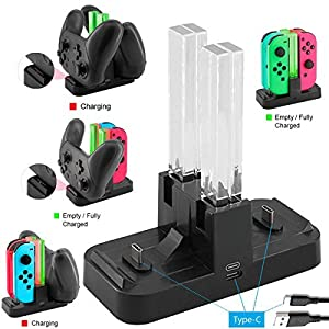 WHITEOAK Switch Pro Controller Ladegerät, Nintendo Switch Joy-Con Ladestation Station Stand mit LED-Anzeige, [Upgrade Version] mit Free Type C Kabel