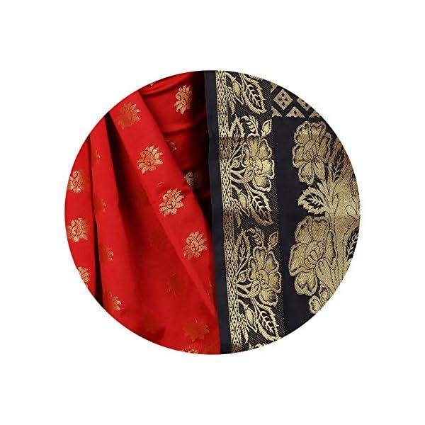 74f4c88cfbba4d SATYAM WEAVES WOMEN S ETHNIC WEAR BANARSI SILK BLACK-RED COLOUR SAREE.(ROSE  BLACK