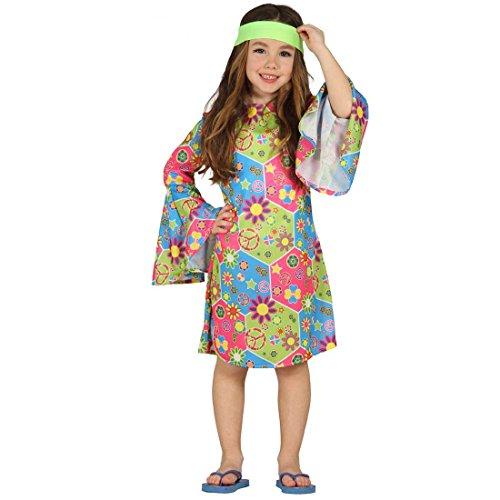 Blumenkind Kinder Kostüm - NET TOYS Hippiekleid Mädchen Flower Power Kleid M 128/134 7 - 9 Jahre Kostüm Blumenmädchen Mädchenkostüm Blumenkind Hippie Faschingskostüm Kinder Woodstock Verkleidung