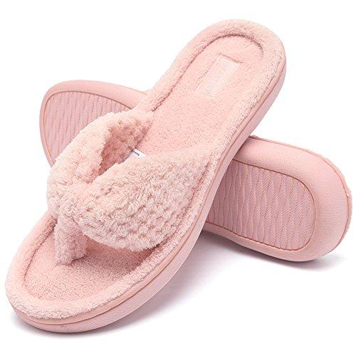 FANTURE Frauen Gemütlich Memory Foam Spa Tanga - Flip - Flops Haus Indoor - Pantoffeln plüsch Gridding Samt Futter Verstopfen - stilE118WMT003-pink-F-36-37