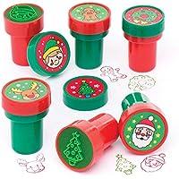 Baker Ross Sellos navideños con entintado automático (Pack de 10) para Manualidades y Decoraciones navideñas Infantiles