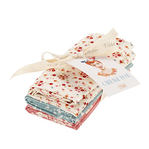 Tilda Kohl Rose Fat Quarter Paket, 100% Baumwolle, mehrfarbig, 3-teilig (Stoff Rosen Rosa Quilt)