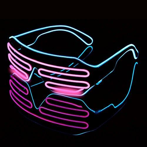 AOLVO EL Draht Brillen, LED-Licht bis Sun Glasses GLOW bis Blink Sonnenbrille Rave Neon Light Up Sonnenbrille, 4Modi für Halloween Weihnachten Geburtstag Party Favor für Kinder Erwachsene Pink + Blue