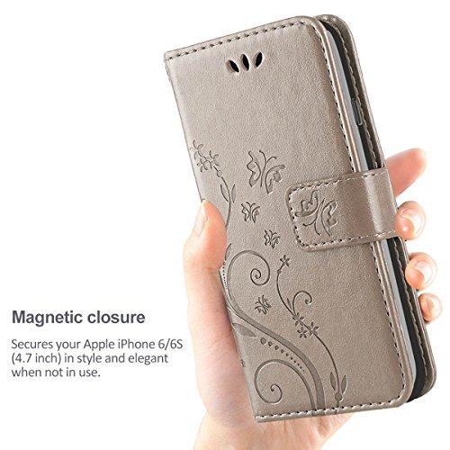 Cover iPhone 6, iDoer Retro Farfalla Fiore Modello Stampata Design Con Cinturino da Polso Custodia in pelle Protettiva Cuoio Portafoglio Flip Cover per Apple iPhone 6/6S Grigio Grigio