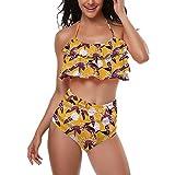MOIKA Badeanzug mädchen 110, Zweiteiliges Set Geteilter Strandkleidung Raffung Neckholder Sling Blume Druck Bikini mit Shorts (Ohne Kopfbedeckung)