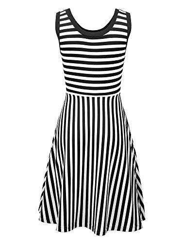 Atemberaubend VESSOS Damen Kleider Gestreift Ärmellos A Kleid Schwarz Weiß &YH_72