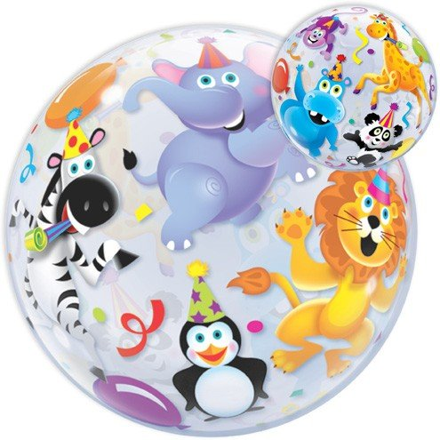 Preisvergleich Produktbild Qualatex 13737 Party Animals Single Bubble Latex Ballon,  22