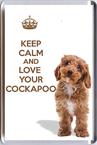 A fridge magnet with a picture of a Cockapoo puppy dog with the words KEEP CALM AND LOVE YOUR COCKAPOO from our KEEP CALM and CARRY ON range. A unique Birthday or Christmas stocking filler gift idea for a dog lover! by Yummy Grandmummy