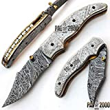 PAL 2000 Klappmesser, Taschenmesser, benutzerdefinierte handgefertigte Messer, Damaststahl Klingenmesser, mit Lederscheide, Handwerk Kochmesser, handgeschmiedete Küchenmesser 9631