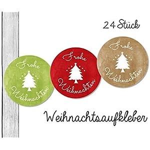 24 bunte Weihnachtsaufkleber • Christmas • (W43) für Deine Weihnachtsgeschenke • Aufkleber Set vom Papierbuedchen